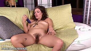 Tristessa toys her hairy snatch