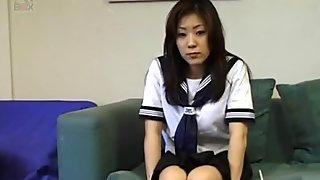 Azusa in uniform sucks hard penis