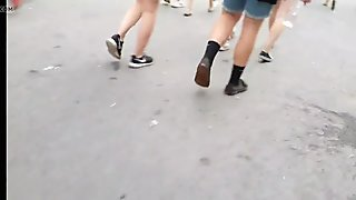 Candid nice booty jiggle in soft pants!!
