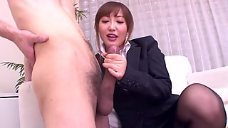 Mami Asakura jerks off three men