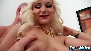 Slim blond wife Nataly Real enjoys a fat dick