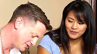 Asian babe spermed by masseur