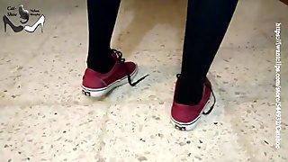 Red vans shoeplay in stockings pantyhose and soles NOVEMBER REWARD